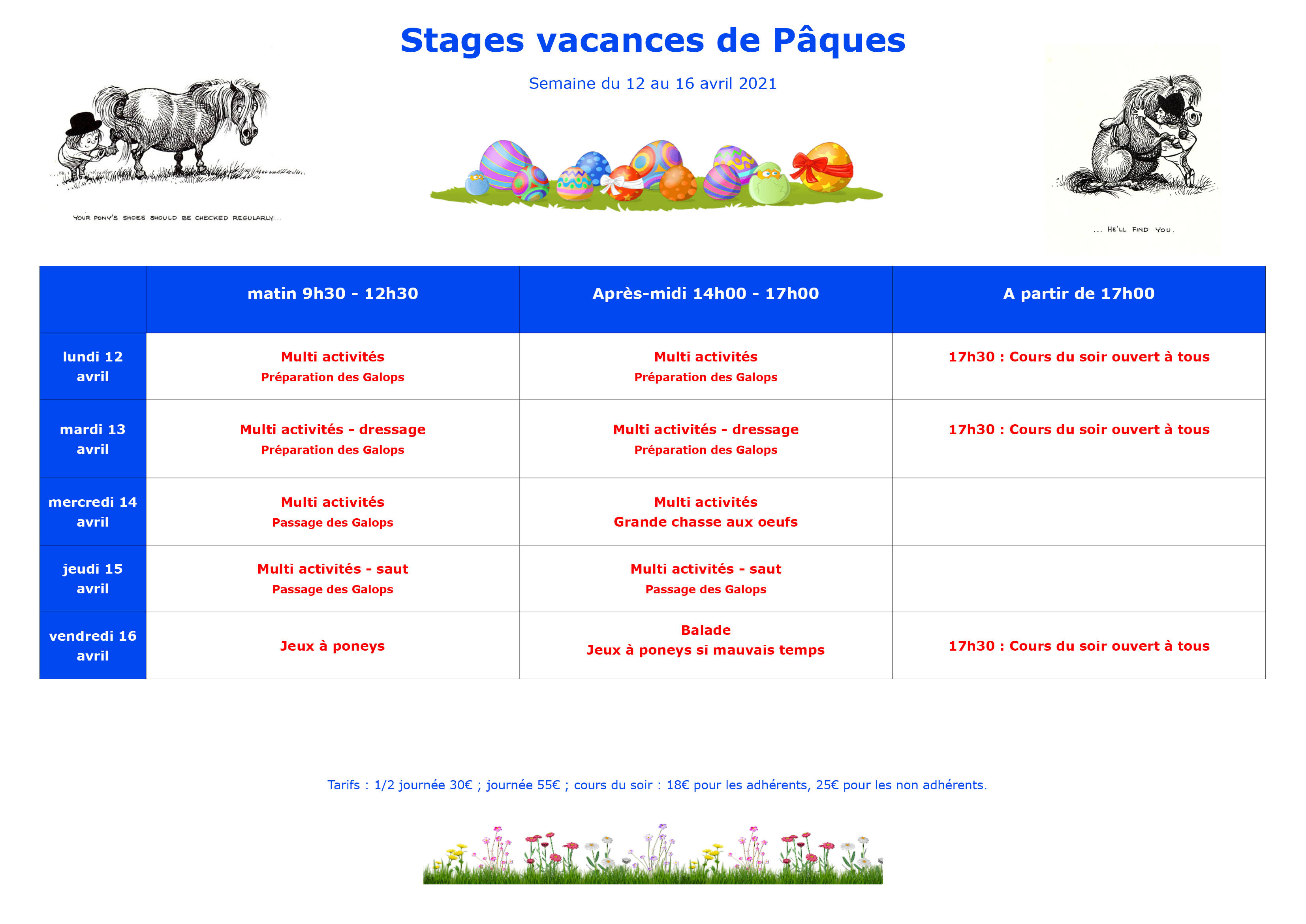 Programme des stages centre équestre du Noyer